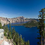 Crater Lake - September 4, 2005 : Visit to Crater Lake with our Moms, Chris, Jenny, and Morgan.  We arrived in the chili morning and spent some time warming up around the lodge.  Then we hiked down the 1.1-mile Cleetwood Cove Trail to the lake for a boat tour. The strenuous hike back up the trail required a 674ft ascent  in the mid-day heat.