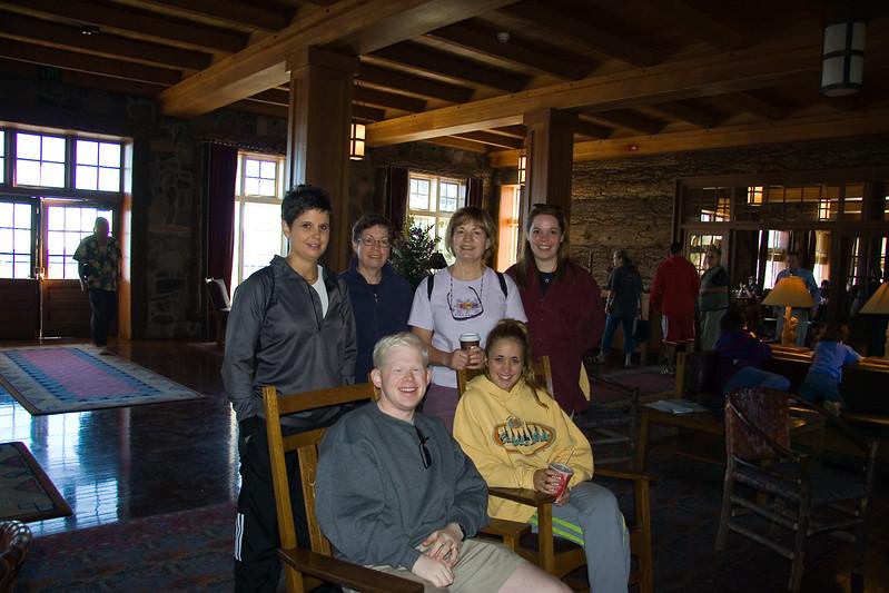 Jenny, Laurie, Chris, Sarah, Ben, and Morgan in Crater Lake Lodge