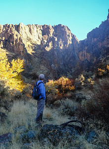 Looking down canyon amidst fall color and bright sunrise.