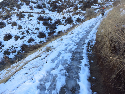 Sample icy trail conditions (shade) up the 8th street motorcycle trail.