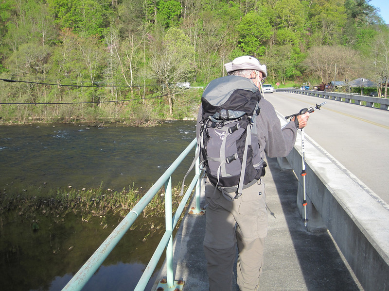 Monday - John Lyon starting across the Nolichucky River to hike S to US 19W