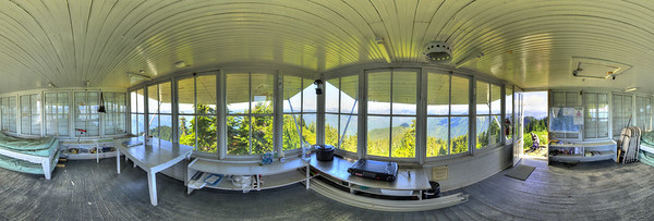 A 360 panoramic shot, interior view of the lookout