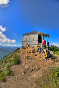 At the lookout we met three women who had rented the lookout for the night. They were in the process of lowering the shutters and locking the door before hiking out to return the key to the ranger station at Skykomish.