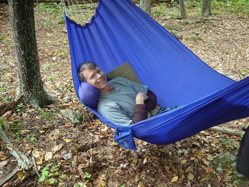 Camp's set up on the Fork Mountain trail and Doug is trying out David's hammock.