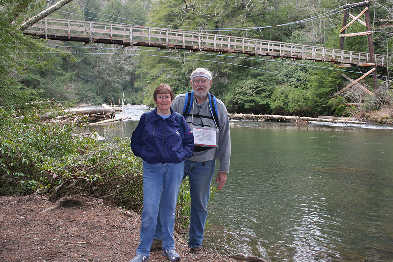 3/6/09 - Mike and Susan at Taccoa River with the suspension bridge in the background.
