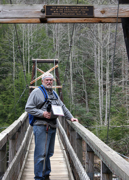 3/6/09 - Mike crossing the 270foot suspension bridge that crosses the Toccoa River
