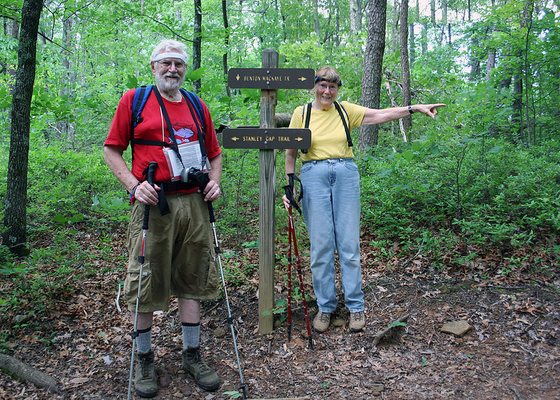 Mike and Susan at the sign for the Benton MacKaye and Stanley Gap trails