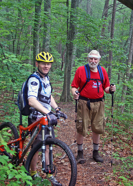 As we were hiking we met this man biking along the trail.  He is a pilot Norway and was here with several others to pick up a plane.