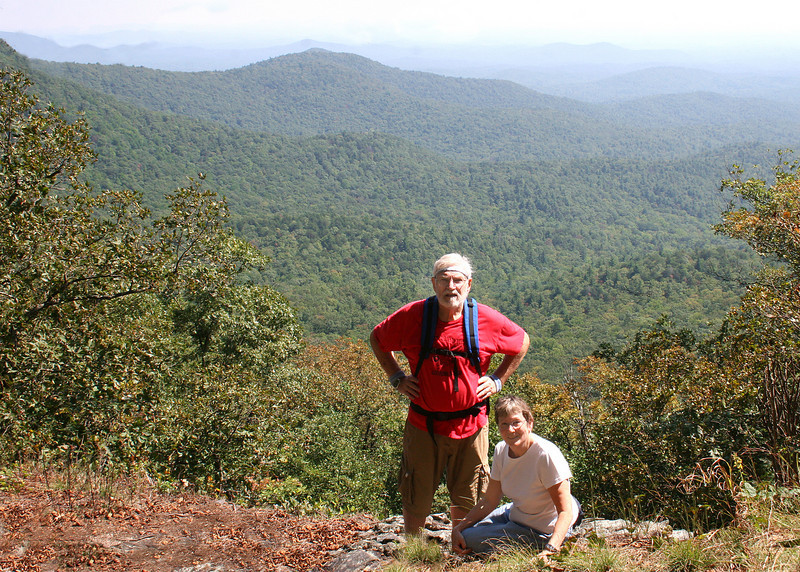 Mike and Susan at Owens Overlook.  This is a rock outcrop open straight out to the southeast with Jones Creek valley below.