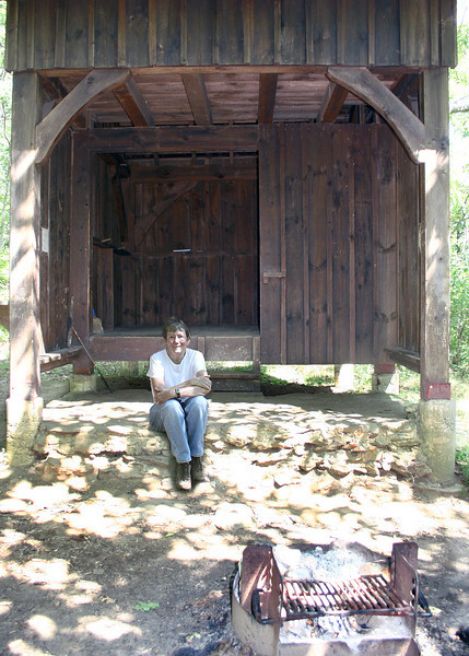 Susan at one of the shelters along the Appalachian Trail