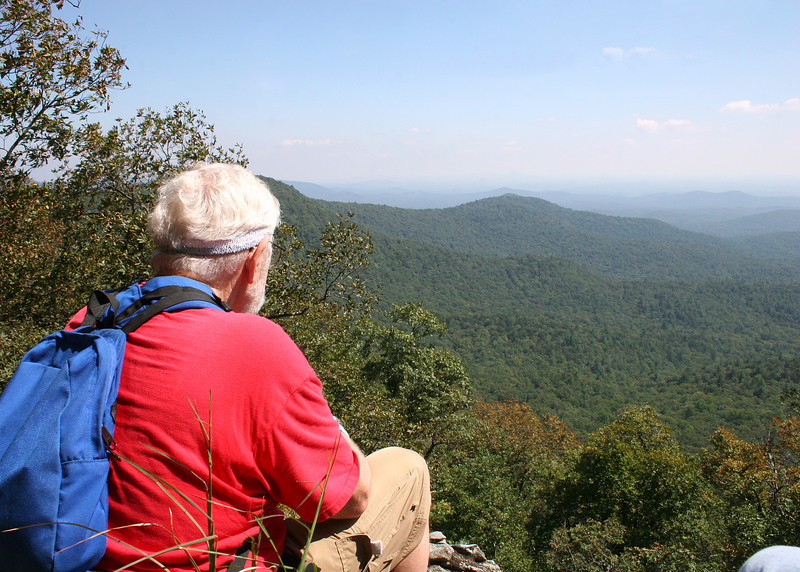 Mike at Owens Overlook.  This is a rock outcrop open straight out to the southeast with Jones Creek valley below.