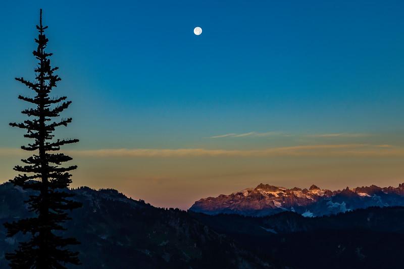 Moon setting over Monte Cristo peaks