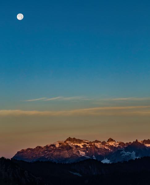 Moon set over Monte Cristo Peaks