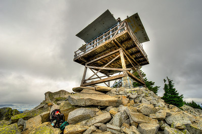 The summit and the fire lookout tower. It was locked so there was no opportunity for any interior shots. Photo shot with Nikon 10-24mm lens at 14mm
