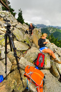 We met Erica, a solo hiker, soon after we reached the summit. You can see that the tripod is out in preparation to photograph images for a couple of spherical panoramas.