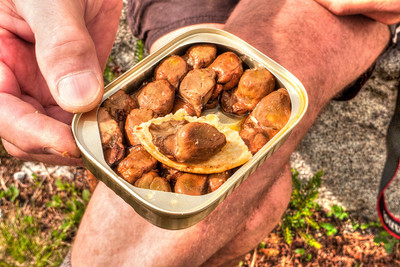 Rainers idea of a tasty lunch snack. I remember, years ago, Bill Nicolai offering me a snack of some smoked mussels and dried crackers, during a climb, at our belay station before the rappel point on the great gendarme on the North Ridge of Mt. Stuart. What are these guys thinking?