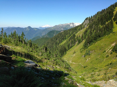 Looking back at the meadows and Mount Baker on the horizon