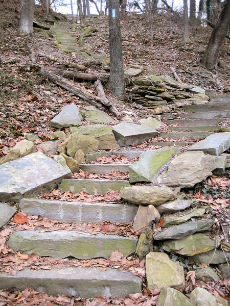 New stone steps on a side trail to ATC headquarters.