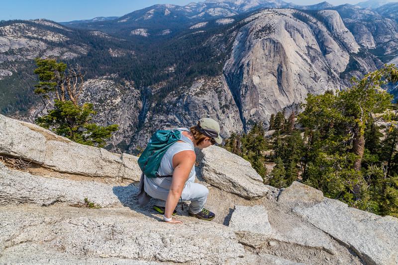 Kathy on Half Dome trail 8-28-17_MG_3427