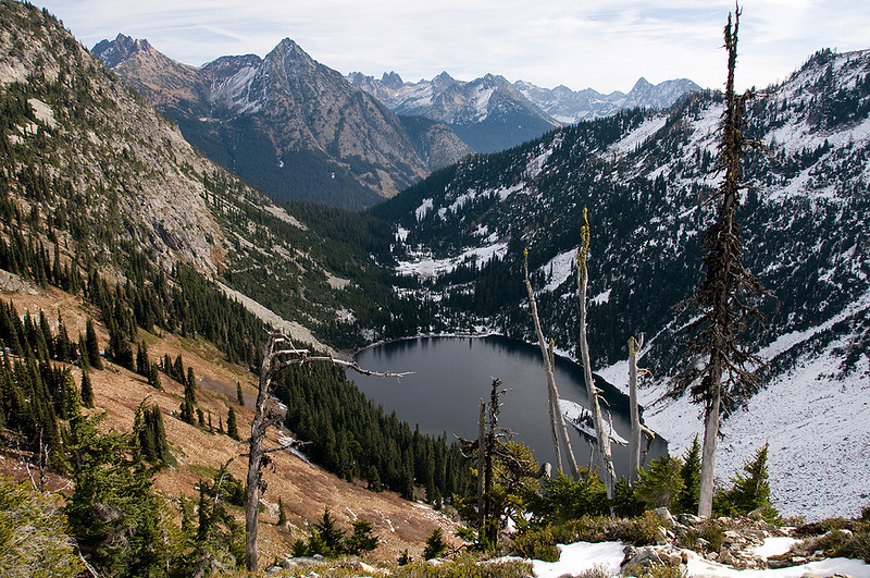 On the traverse to Maple Pass overlooking Lake Ann