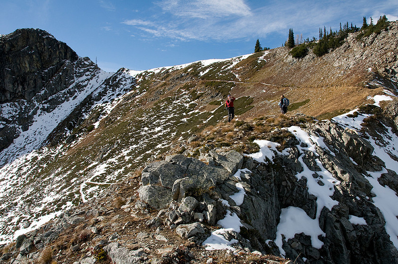 Dropping down to the Rainy Lake drainage.  The switchbacked trail is behind Ed.