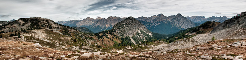 A three shot panorama looking northwest and north from Maple Pass.  You can pretty much see most of the trail up the west side with Lake Ann, not visible, just below.