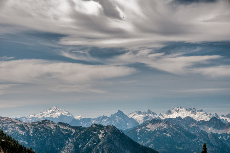 A zoomed in view of Glacier Peak about 32 miles away as the crow flies.