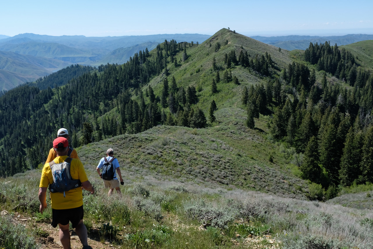 Descending to the ridge intersection.
