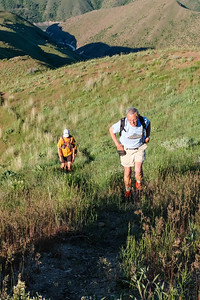 Ulli and Mike work the steep.