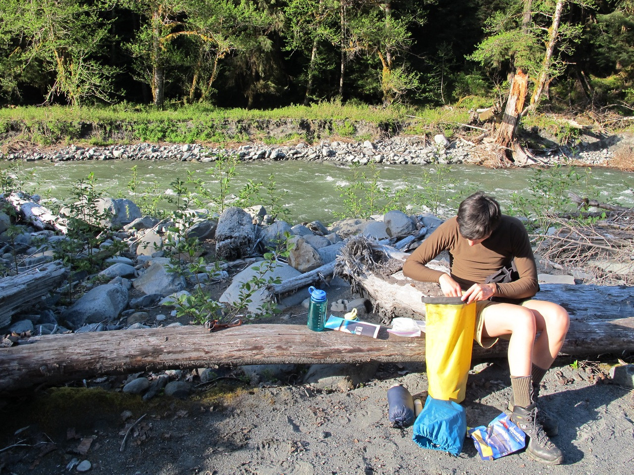 Getting ready to prepare dinner on an island in the Quinault river.