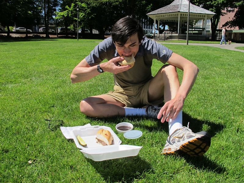 Lunch - French dip - on the Olympia city square before we head out to the trail-head.