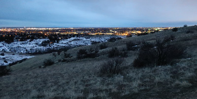 Top of first quick climb, city lights with first light.