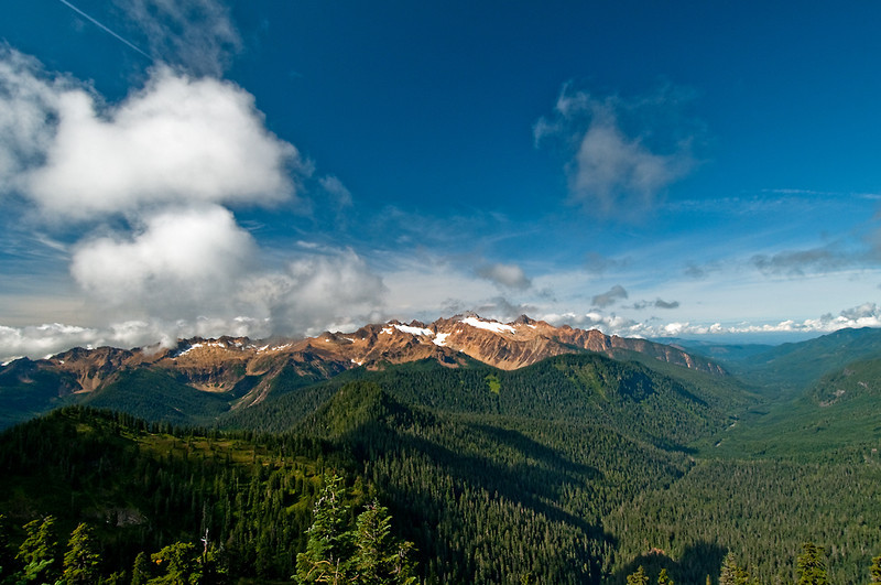 These are the Sisters viewed from the lookout with the middle fork of the Nooksack River on the right.