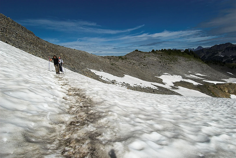 End of August and there were still many snowfields to cross.