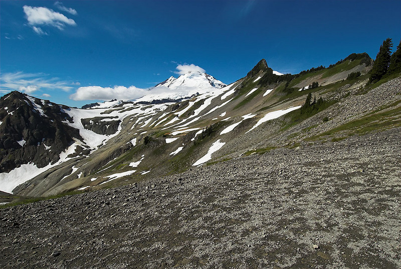 Our destination in site - we are headed for the back side of Coleman Pinnacle (just to the  right of Mt. Baker)