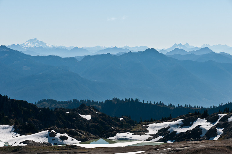 The tarns again with Glacier peak on the left,