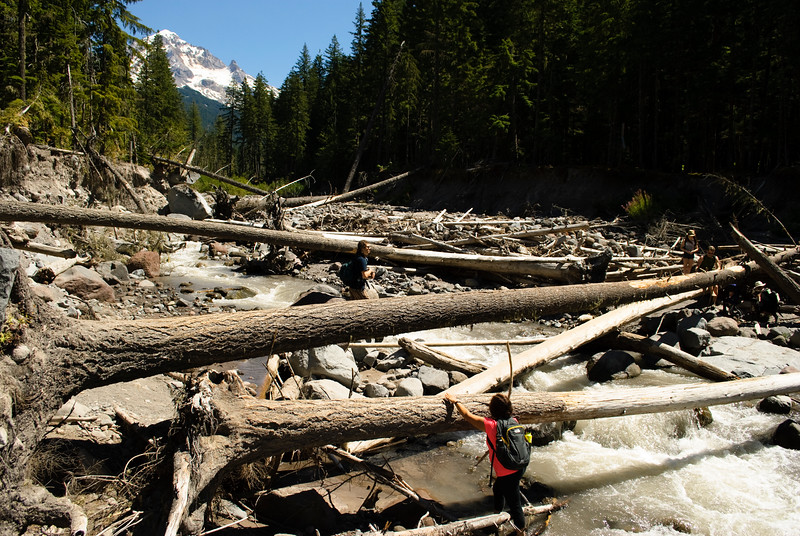 Crossing the Sandy River without a bridge