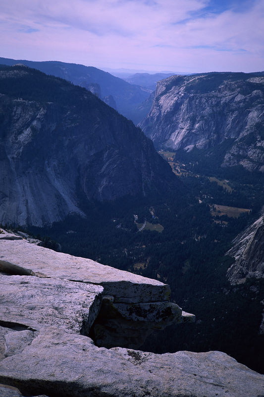 A view of Yosemite Valley from the top of Half Dome.