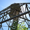 Looking up the fire tower.