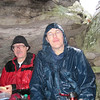 "Duncan and John eating lunch in a ""cave"" on the top of Strickler Knob.  The rain was still dripping on John."