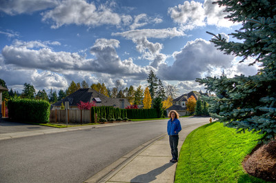 Diane is my companion on this incredible November day neighborhood walk. The clouds are magnificent.