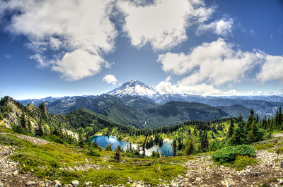 Fisheye panorama of the north side of Mount Rainier with Eunice Lake below.