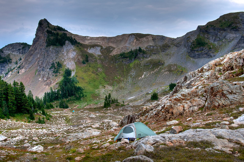 My camp with Yellow Aster Butte in the background.  Can you believe our class climbed that thing in the snow?