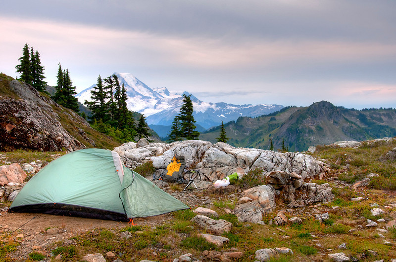 My camp looking south with Mt. Baker in the background.