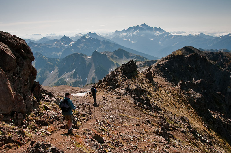Coming back down with Yellow Aster Butte in the midground and Shuskan in the background.