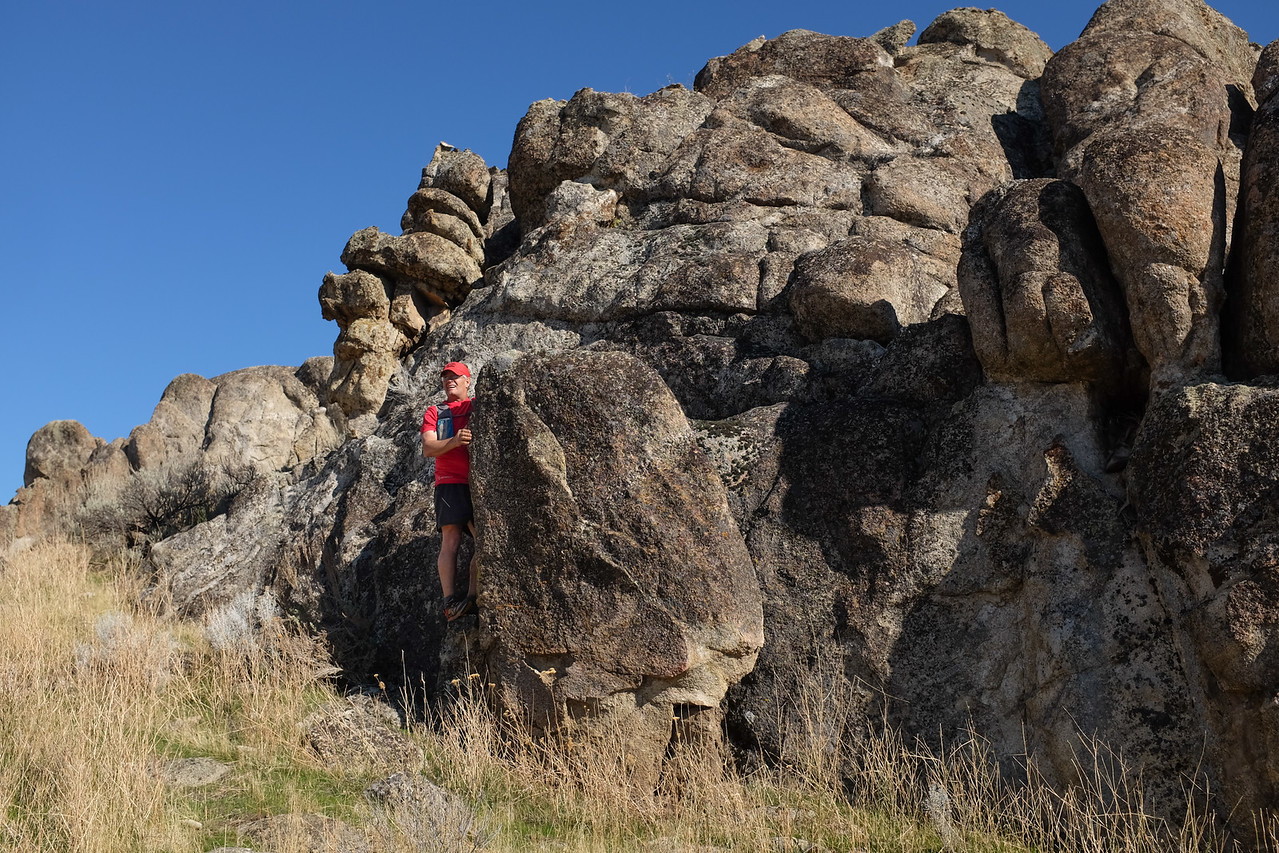 Clambering rock formations.