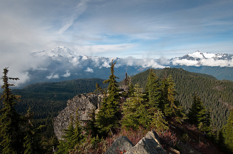 On the way back out we hiked up to Anderson Butte.  This is the view west looking at Mt. Baker on the left and Shuskan on the right.  Anderson is an old lookout site, closed in the 60's.