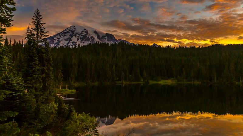 Mt Rainier sunrise at Reflection Lake