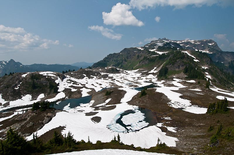 We camped on the far lake on the right during our mountaineering class when it was completely covered in snow.