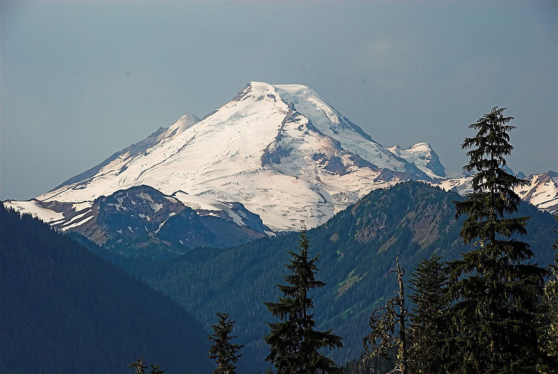First clear view of Mt. Baker on the way in.